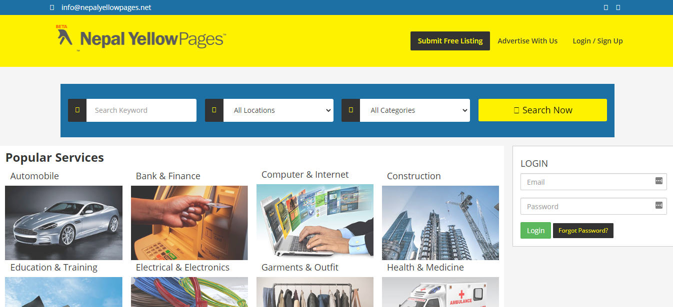 Nepal Yellow Pages- nepal business directory listing site